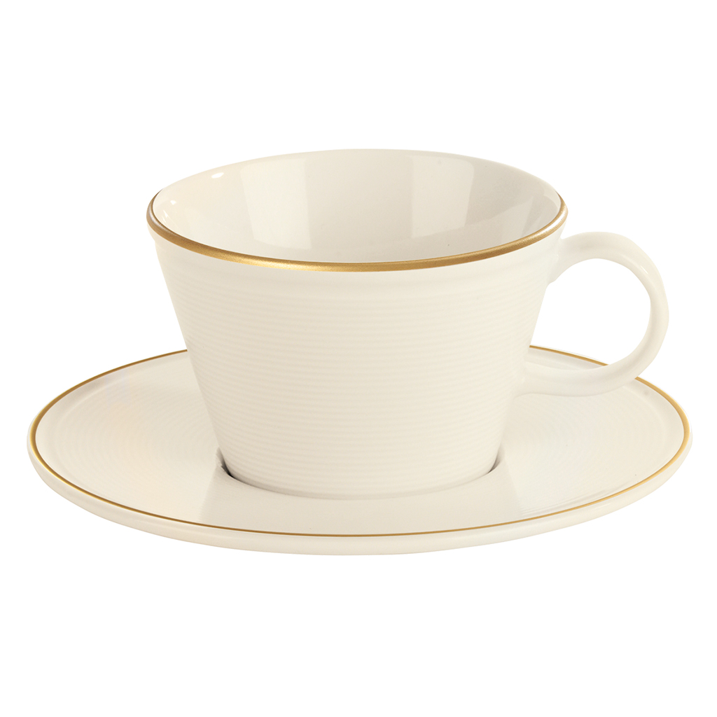 Academy Line Gold Colour Band Cappuccino Cup & Saucer