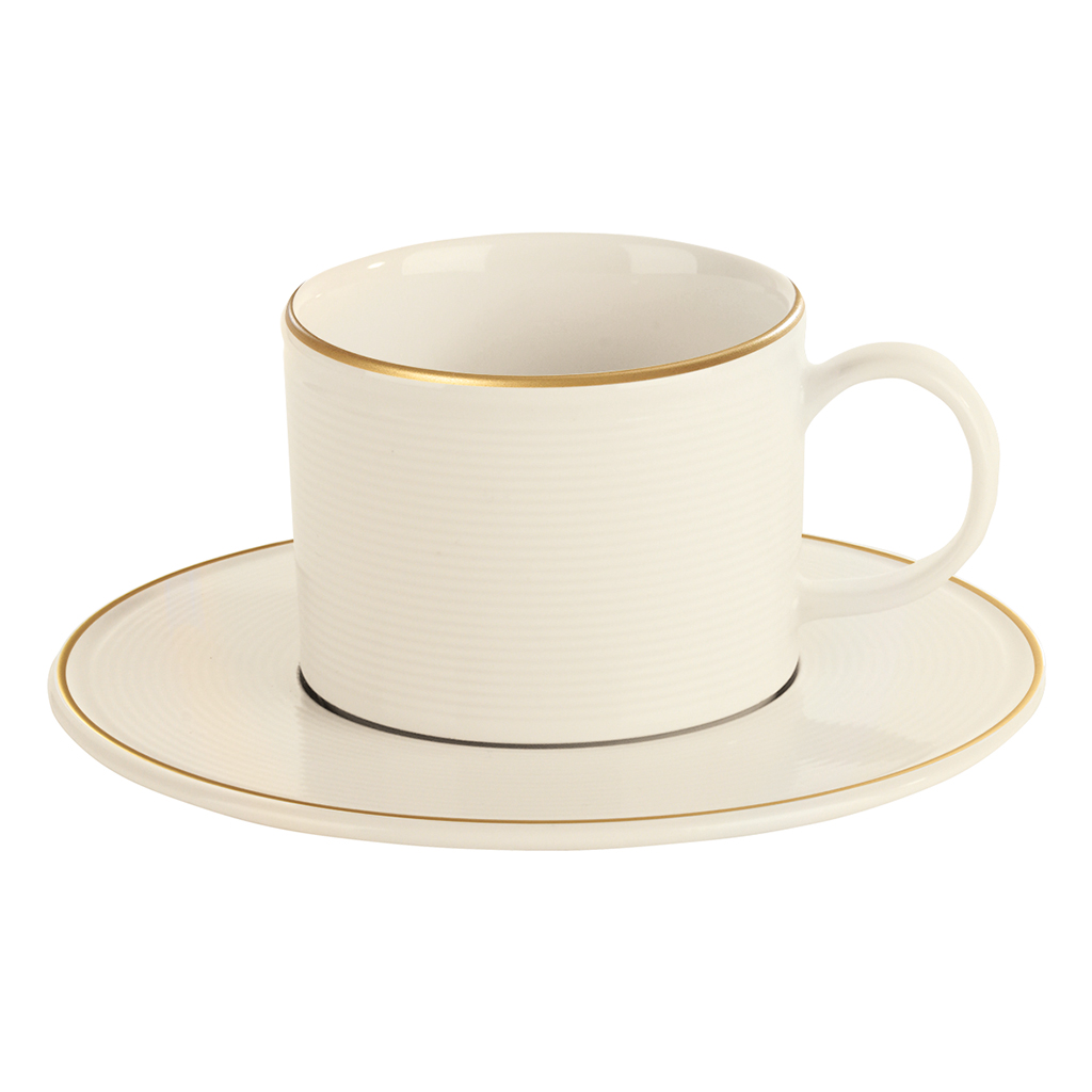 Academy Line Gold Colour Band Stacking Teacup & Saucer